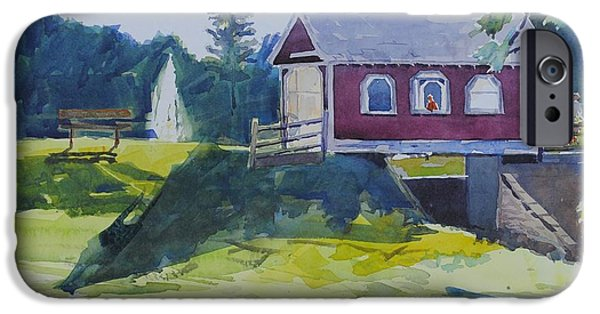 Covered Bridge Paintings iPhone Cases - Hazy Morning At Hope Bridge iPhone Case by Spencer Meagher