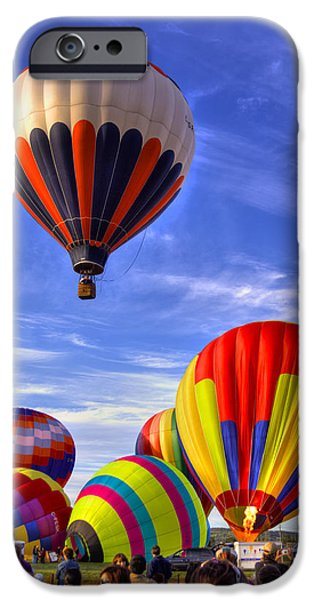 Freedom iPhone Cases - HDR Colorful Hot Air Balloons iPhone Case by Jamie Roach