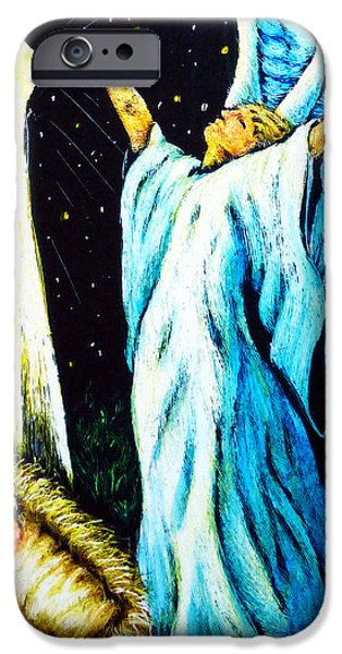 Jesus Drawings iPhone Cases - He Is Here iPhone Case by Monique Morin Matson