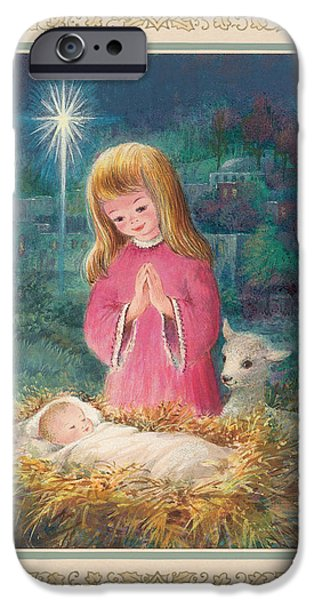 Baby Jesus iPhone Cases - He Lay In A Manger Gouache iPhone Case by Stanley Cooke