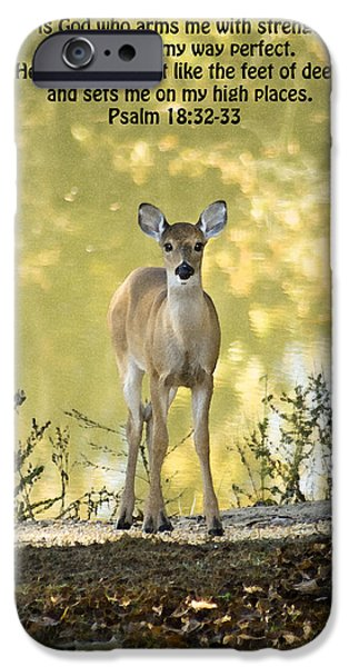 He Makes My Feet Like The Feet of Deer iPhone Case by Kathy Clark
