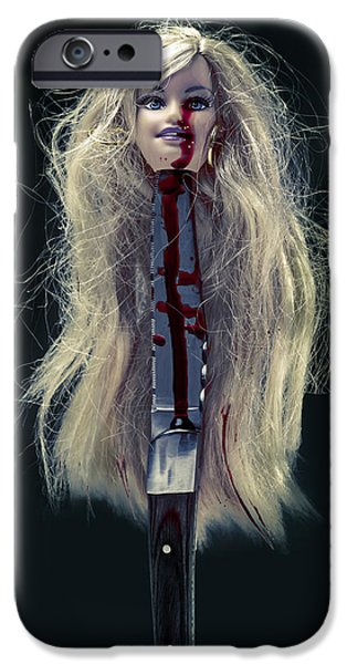 Eerie iPhone Cases - Head And Knife iPhone Case by Joana Kruse