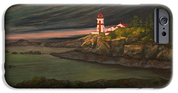 East Quoddy Lighthouse iPhone Cases - Head Harbour East Quoddy Light iPhone Case by Alison Barrett Kent