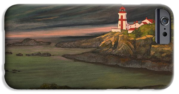 East Quoddy Lighthouse iPhone Cases - Head Harbour East Quoddy Light close crop iPhone Case by Alison Barrett Kent
