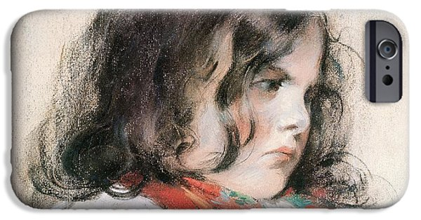 Innocence iPhone Cases - Head Of A Child Pastel On Paper iPhone Case by Mary Stevenson Cassatt