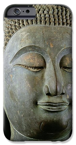 Buddhism iPhone Cases - Head Of A Giant Buddha Bronze iPhone Case by Thai