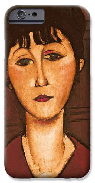 Clemente Paintings iPhone Cases - Head of a Girl iPhone Case by Amedeo Modigliani