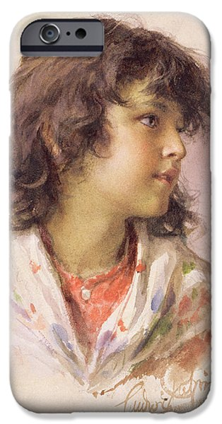 Young Paintings iPhone Cases - Head of a Girl iPhone Case by Ludwig Passini