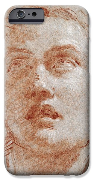 White Pastels iPhone Cases - Head of a Man looking up iPhone Case by Giovanni Battista Tiepolo