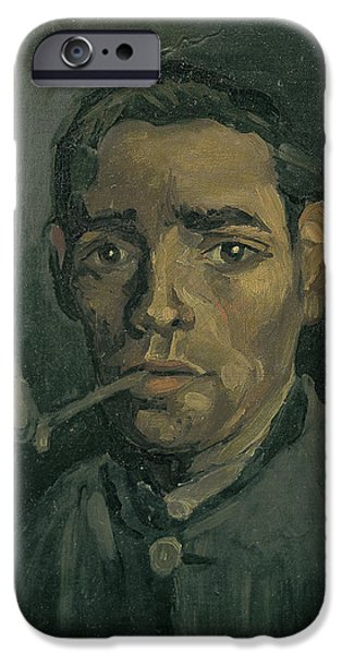 Character Study iPhone Cases - Head Of A Man iPhone Case by Vincent Van Gogh