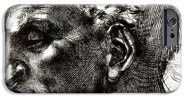 Michelangelo iPhone Cases - Head of a Satyr  iPhone Case by Michelangelo