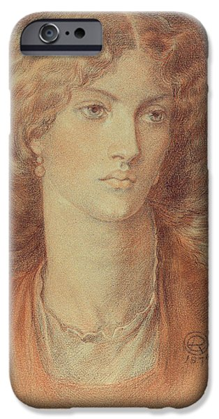 Close Up Drawings iPhone Cases - Head of a Woman called Ruth Herbert iPhone Case by Dante Charles Gabriel Rossetti
