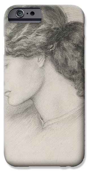 Portraiture Drawings iPhone Cases - Head Of A Woman iPhone Case by Dante Gabriel Charles Rossetti