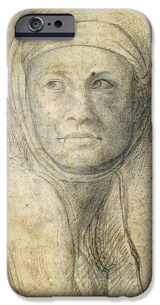 Close Up Drawings iPhone Cases - Head of a Woman iPhone Case by Michelangelo Buonarroti