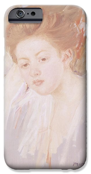Innocence iPhone Cases - Head Of A Young Girl Pastel On Paper iPhone Case by Mary Stevenson Cassatt