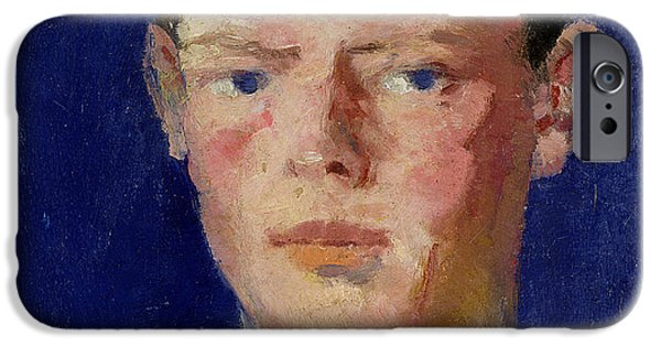Young Paintings iPhone Cases - Head of a Young Man iPhone Case by Francis Campbell Boileau Cadell