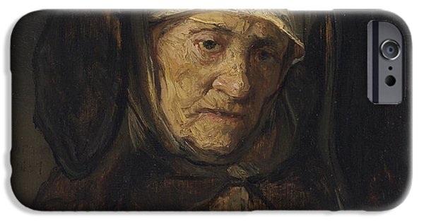 Shoulders iPhone Cases - Head of an Aged Woman iPhone Case by Rembrandt