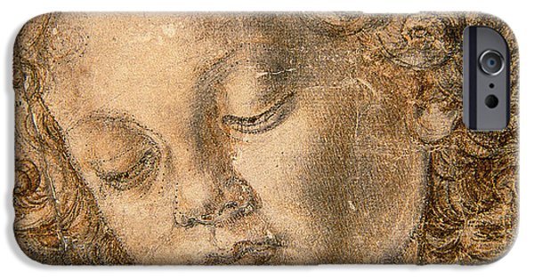 Close Pastels iPhone Cases - Head of an Angel iPhone Case by Andrea del Verrocchio