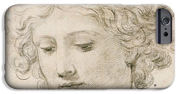 Young Boy iPhone Cases - Head of an Angel iPhone Case by Pietro da Cortona