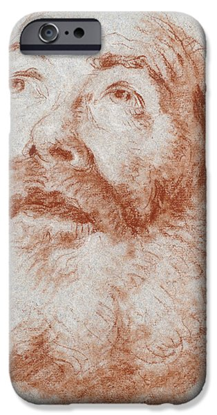 White Pastels iPhone Cases - Head of an Old Man looking up iPhone Case by Giovanni Battista Tiepolo