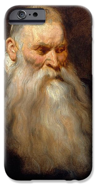 Old Man With Beard iPhone Cases - Head of an Old Man with a White Beard iPhone Case by Anthony van Dyck