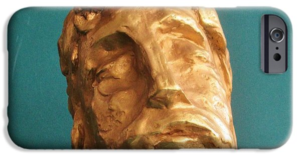 Jesus Sculptures iPhone Cases - Head of Christ 2014 iPhone Case by Karl Leonhardtsberger