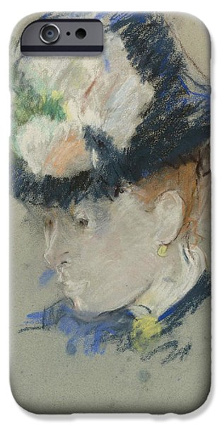 Berthe Paintings iPhone Cases - Head of English Woman iPhone Case by Berthe Morisot