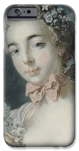 Feminine Pastels iPhone Cases - Head of Flora iPhone Case by Francois Boucher