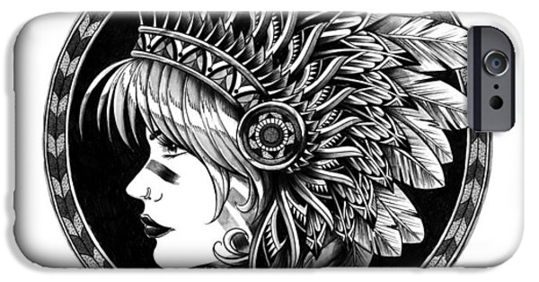 Artwork Drawings iPhone Cases - Headdress iPhone Case by BioWorkZ