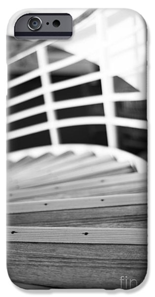 Upper Deck iPhone Cases - Heading Down in Monochrome iPhone Case by Anne Gilbert