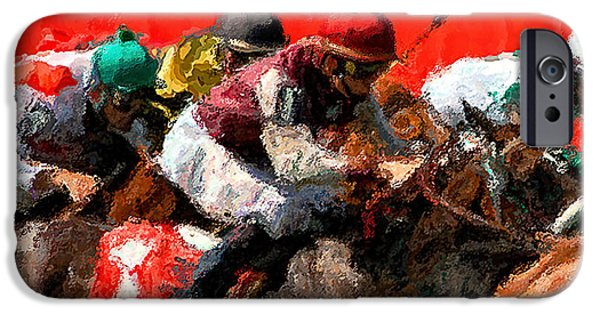 Action Lines Digital Art iPhone Cases - Heading for the finish line - a horserace painting iPhone Case by David Lawrence
