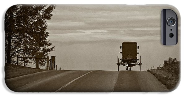 Amish Photographs iPhone Cases - Heading Home in a Horse and Buggy iPhone Case by Priscilla Burgers