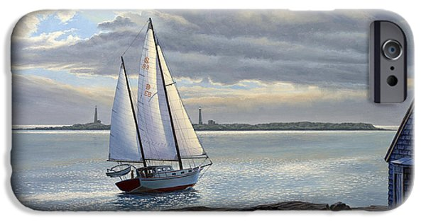Sailboat Paintings iPhone Cases - Heading Out-Close Hauled     iPhone Case by Paul Krapf
