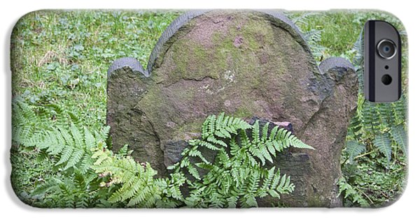 Headstones iPhone Cases - Headstone and Ferns Squared iPhone Case by Teresa Mucha