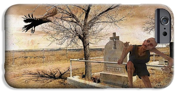 Headstones Digital Art iPhone Cases - Headstone - Out of the Grave  iPhone Case by L Wright
