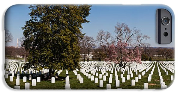 Patriotism iPhone Cases - Headstones In A Cemetery, Arlington iPhone Case by Panoramic Images