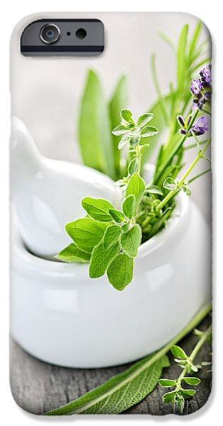 Herbs iPhone Cases - Healing herbs in mortar and pestle iPhone Case by Elena Elisseeva
