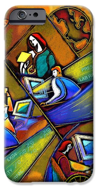 Connection Paintings iPhone Cases - Health care Technology iPhone Case by Leon Zernitsky