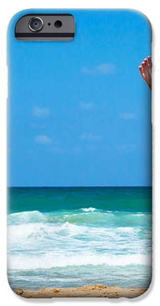 Healthy man running on the beach iPhone Case by Anna Omelchenko