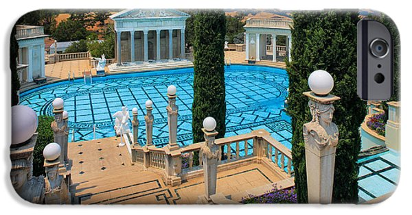 Wealth iPhone Cases - Hearst Castle Neptune Pool iPhone Case by Inge Johnsson