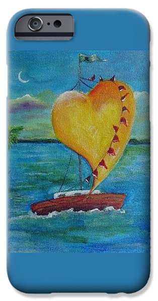 Young Paintings iPhone Cases - Heart across the Harbor iPhone Case by Maria Milazzo