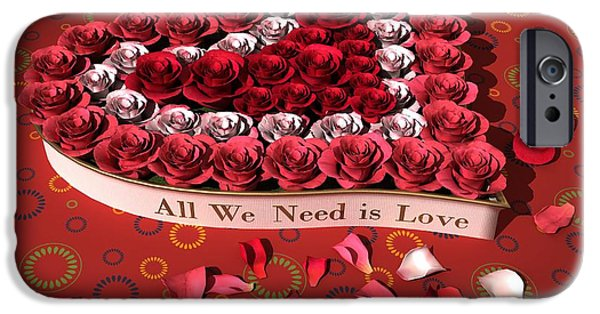 Nature Center Paintings iPhone Cases - Heart and roses iPhone Case by Victor Gladkiy
