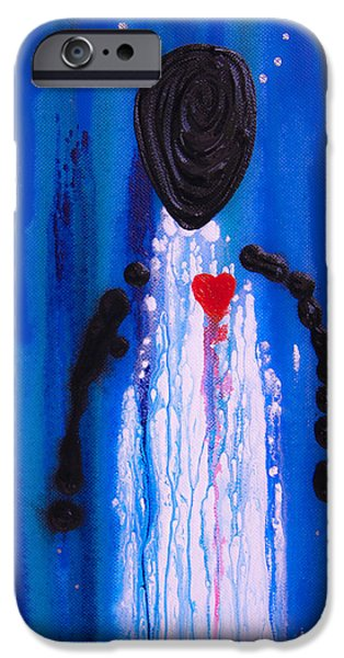 Angel Blues iPhone Cases - Heart and Soul - Angel Art Blue Painting iPhone Case by Sharon Cummings