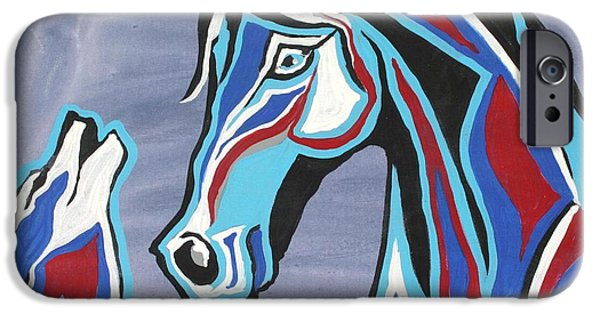Wolf iPhone Cases - Heart and Soul - Abstract Horse Art by Valentina Miletic iPhone Case by Valentina Miletic