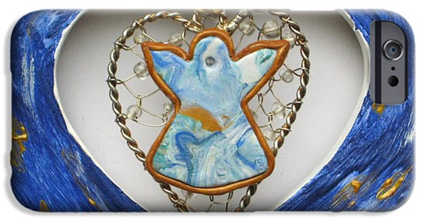 Magical Reliefs iPhone Cases - Heart Angel sparkling iPhone Case by Heidi Sieber