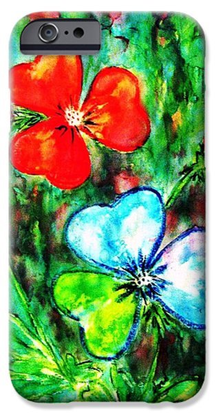 Garden Scene Paintings iPhone Cases - Heart Flowers iPhone Case by Hazel Holland