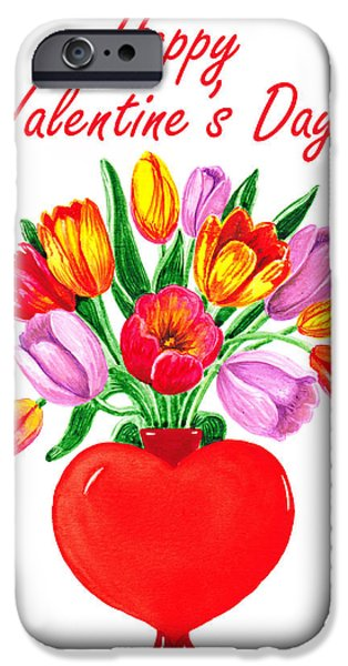 Red Letter Days iPhone Cases - Heart Full Of Tulips Valentine Bouquet  iPhone Case by Irina Sztukowski