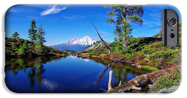 Blue Sky Reflection iPhone Cases - Heart Lake and Mt Shasta Reflection iPhone Case by Scott McGuire