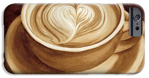 Cafe Au Lait iPhone Cases - Heart Latte II iPhone Case by Hailey E Herrera