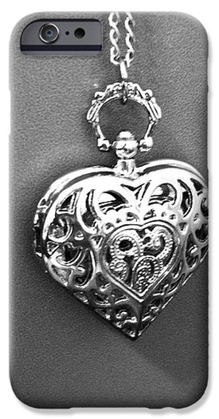 Jewelry Greeting Cards iPhone Cases - Heart Locket  iPhone Case by Alohi Fujimoto
